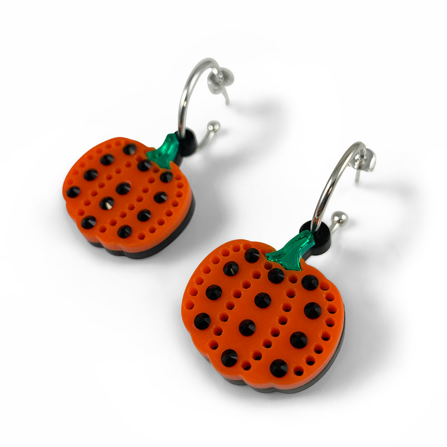 Jennifer Loiselle Laser Cut Acrylic Pumpkin Hoop Earrings
