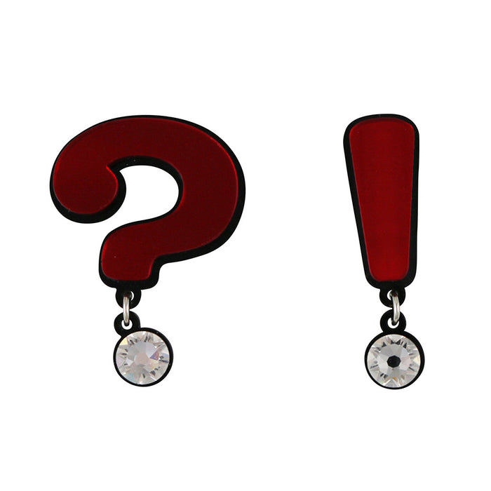 Question Mark Exclamation Point Brooch in red