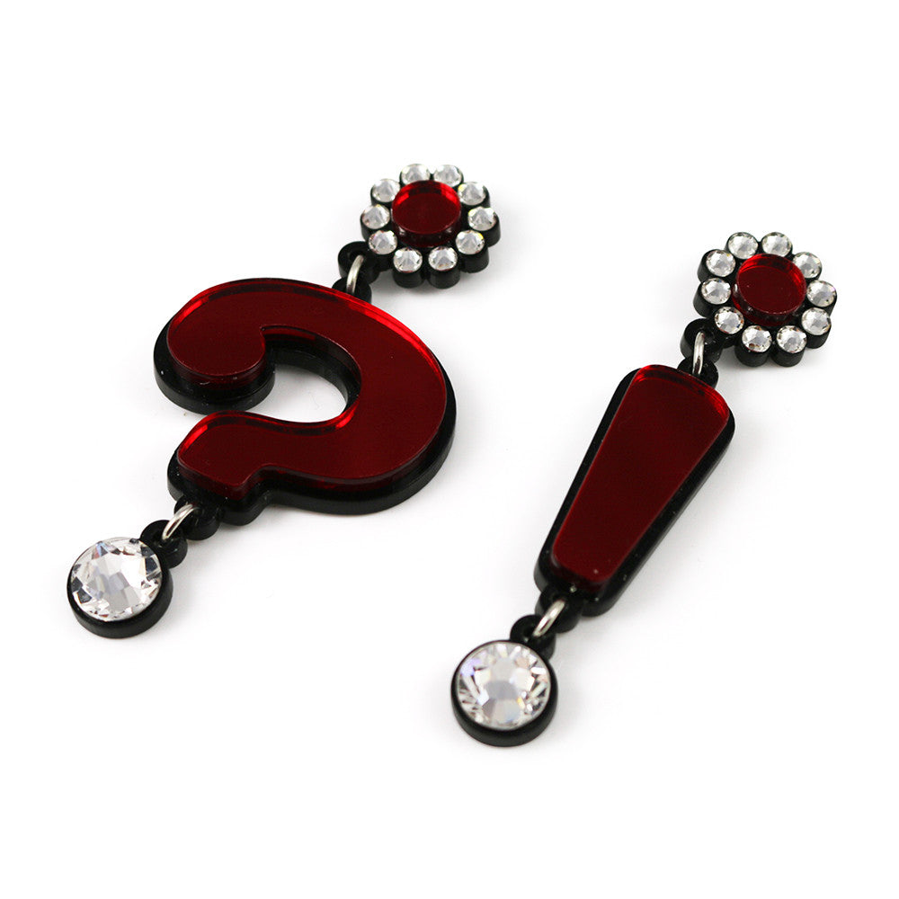 Question Mark Exclamation Point Earrings in red