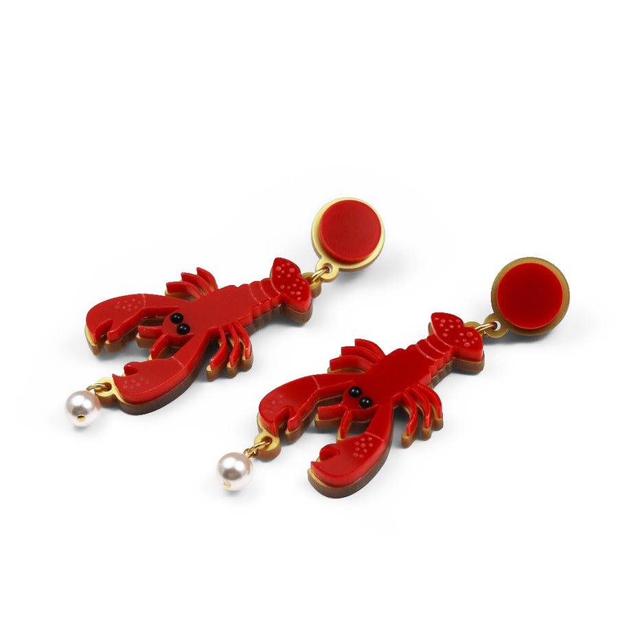 Jennifer Loiselle laser cut acrylic lobster earrings