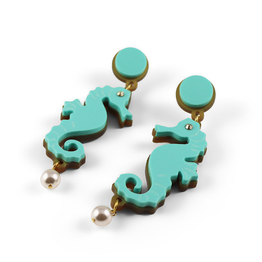 Seahorse earrings in Aqua