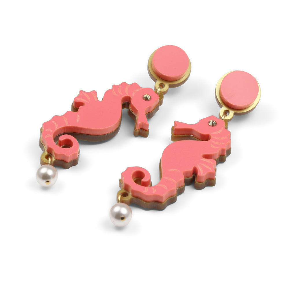 Seahorse earrings in Coral