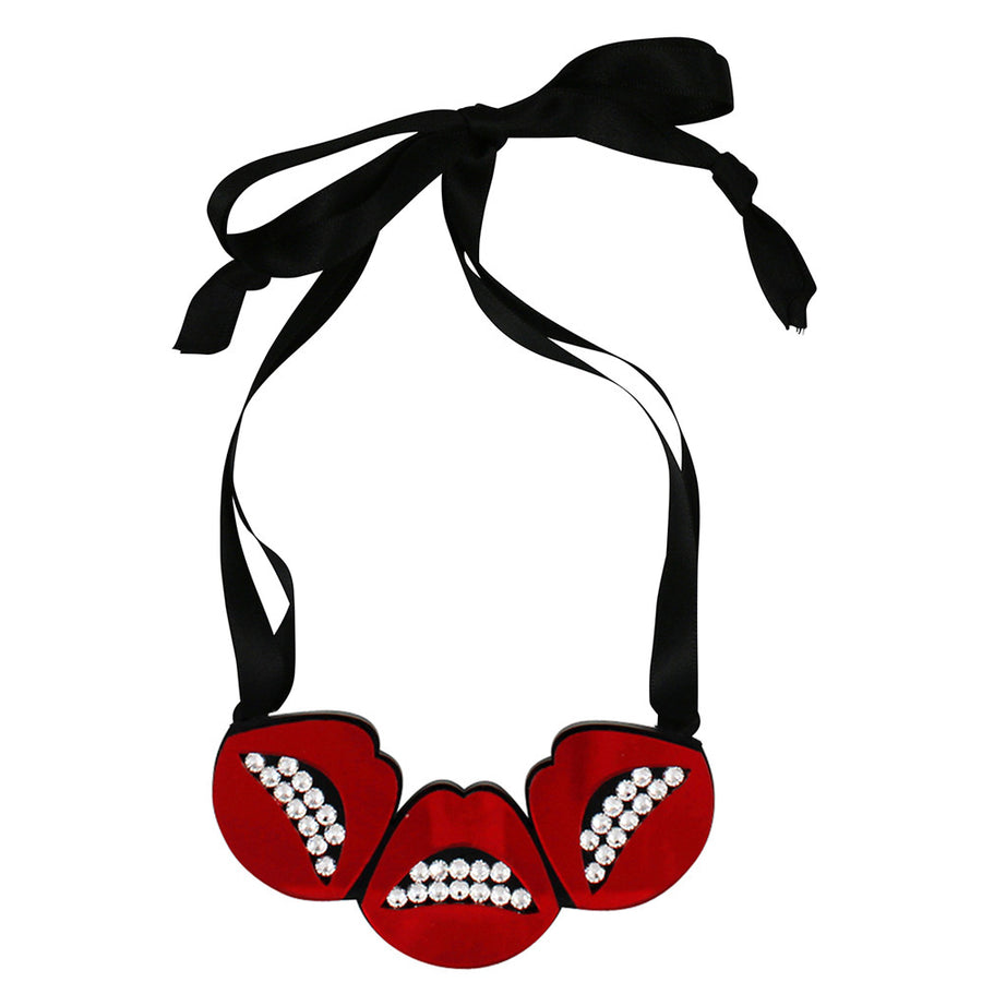 Jennifer Loiselle laser cut acrylic lips necklace