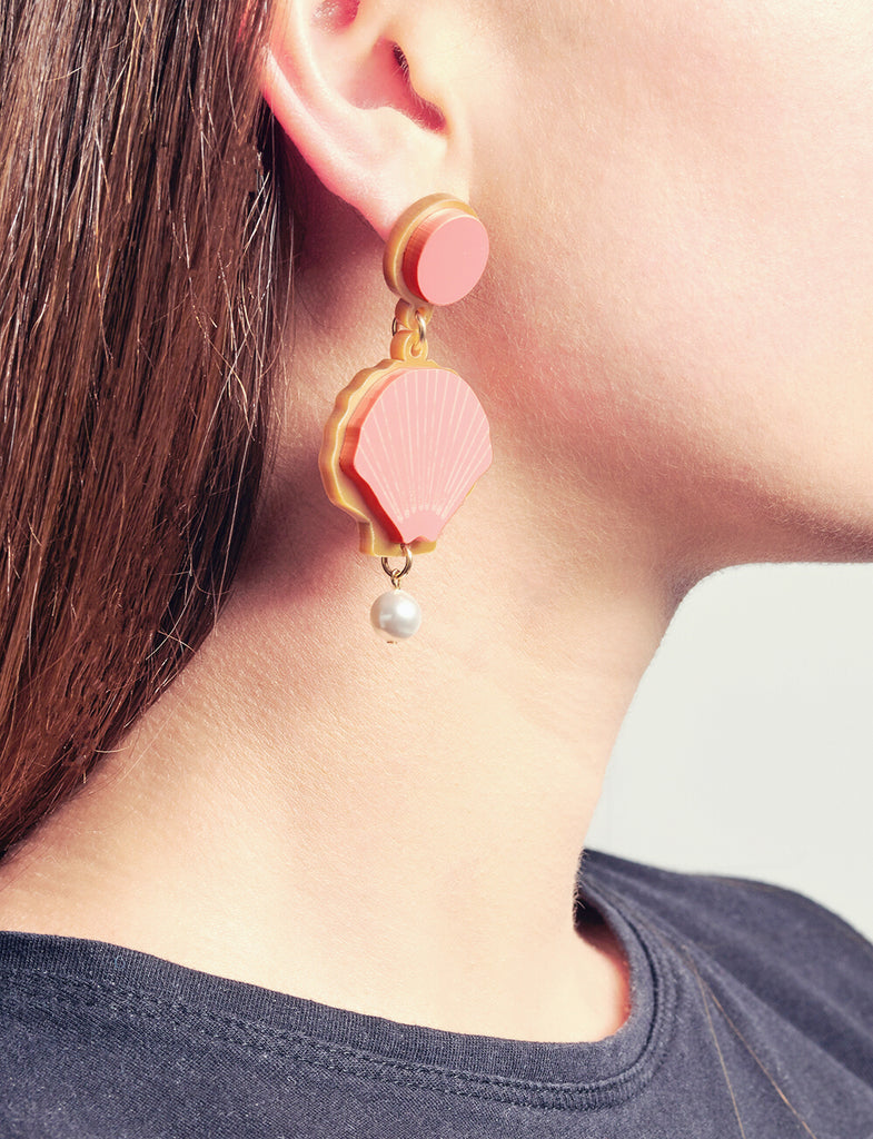 Come out of Your Shell Earrings in Coral