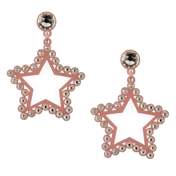 Seeing Stars Crystal Earrings in Pink