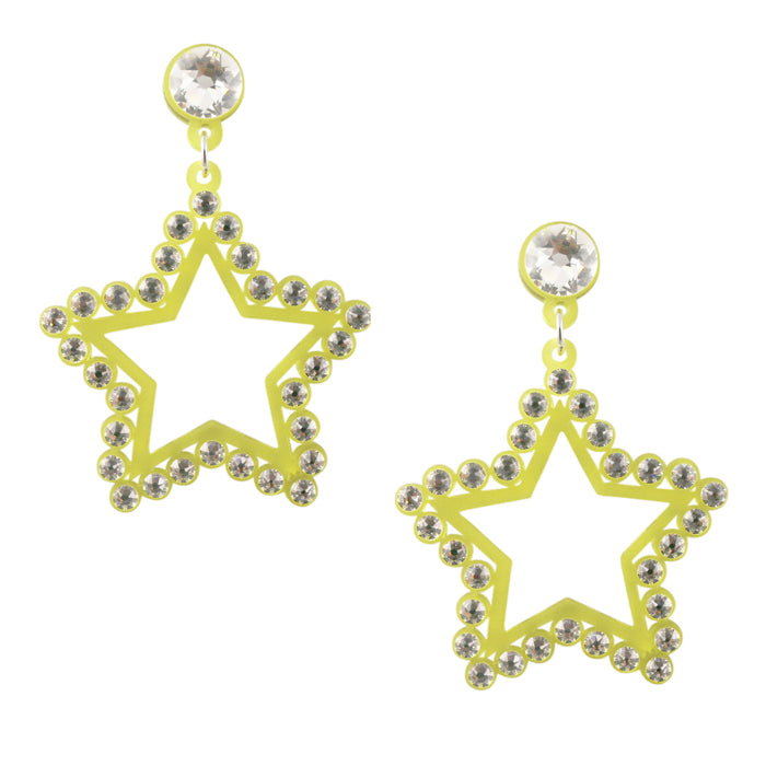 Seeing Stars Crystal Earrings in Yellow