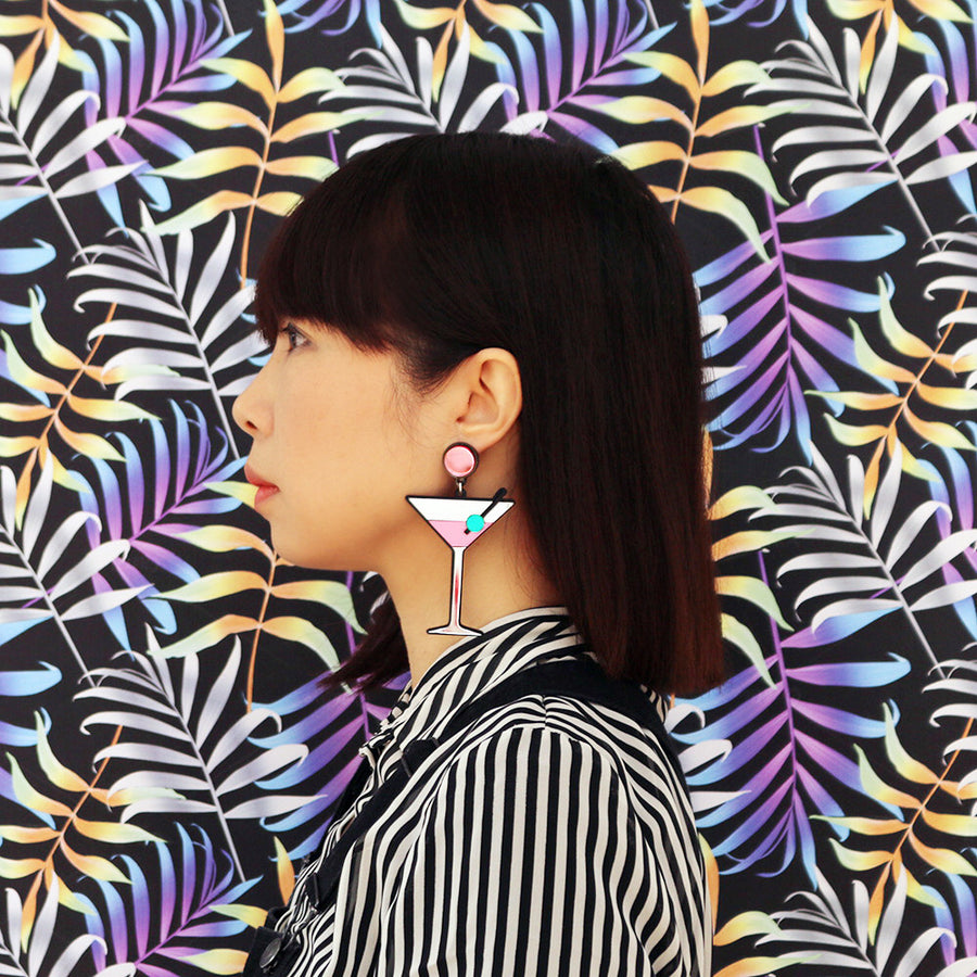 Jennifer Loiselle laser cut perspex martini statement earrings