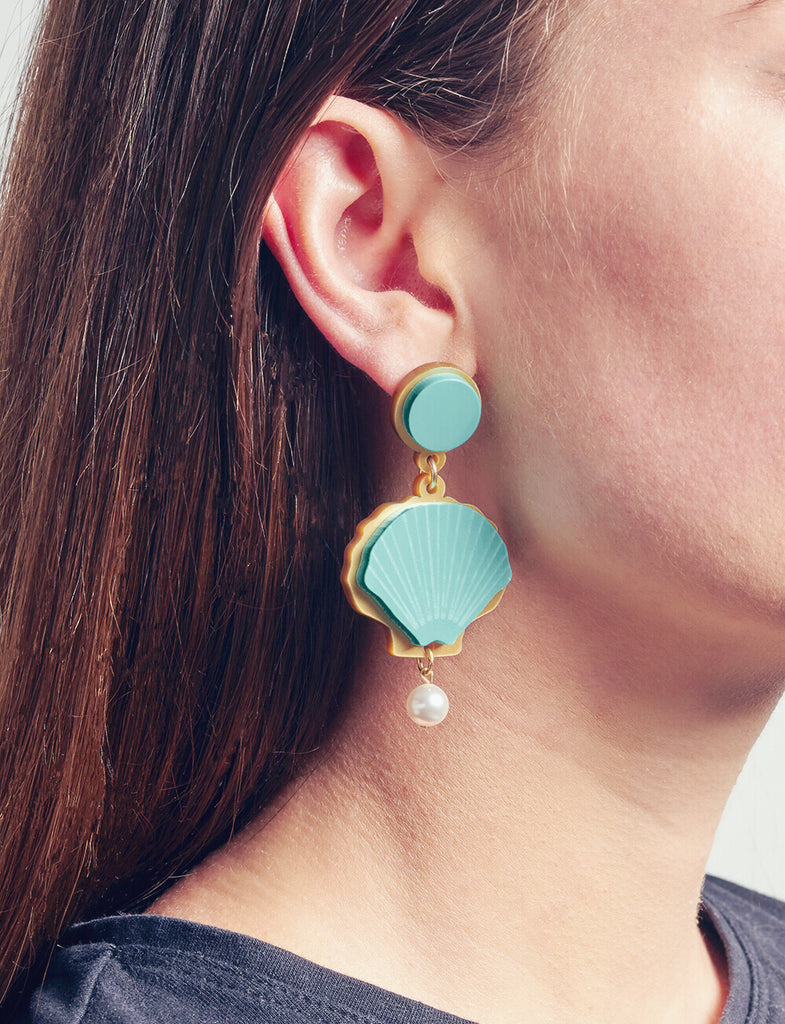 Come out of Your Shell Earrings in Aqua