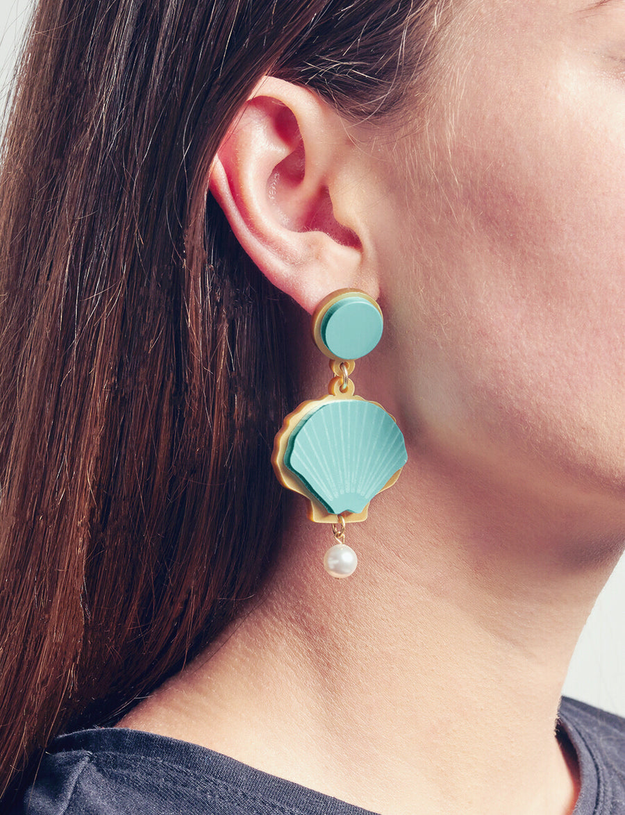 Jennifer Loiselle laser cut acrylic shell earrings