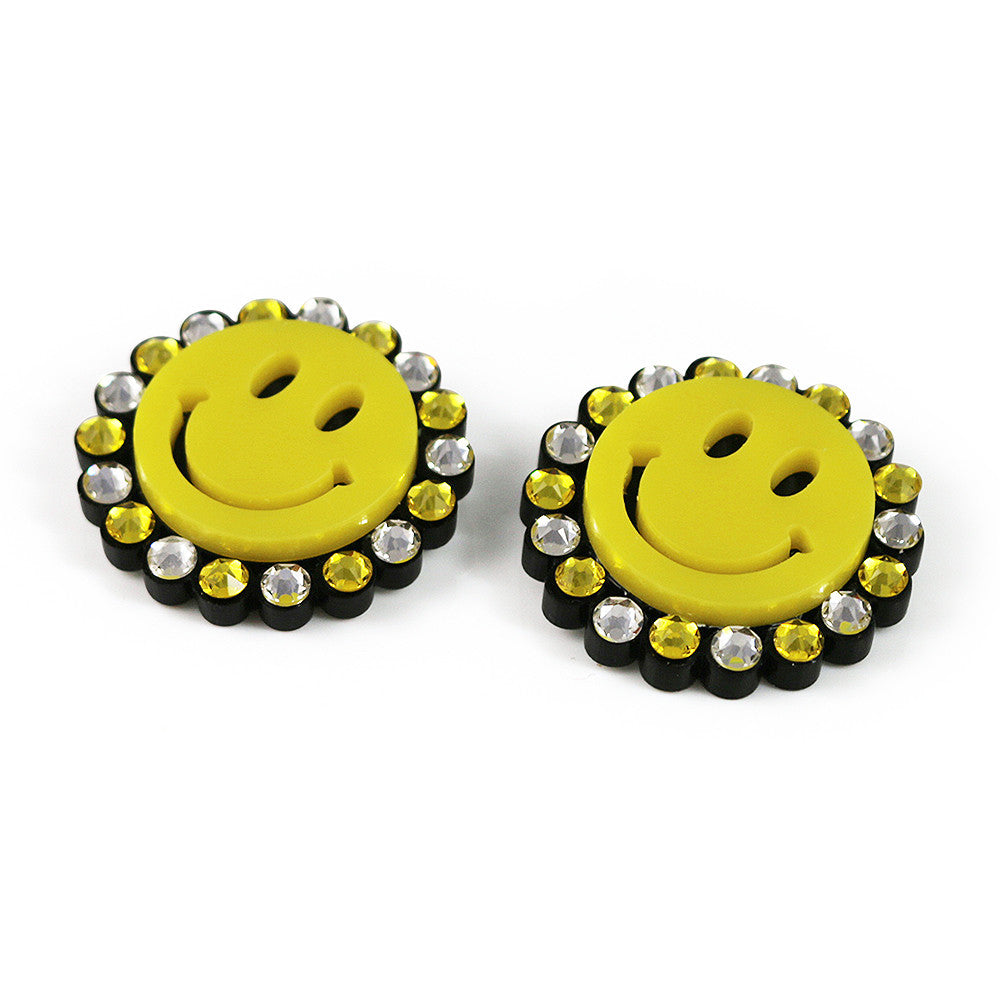 Mini Smiley Earrings - Yellow