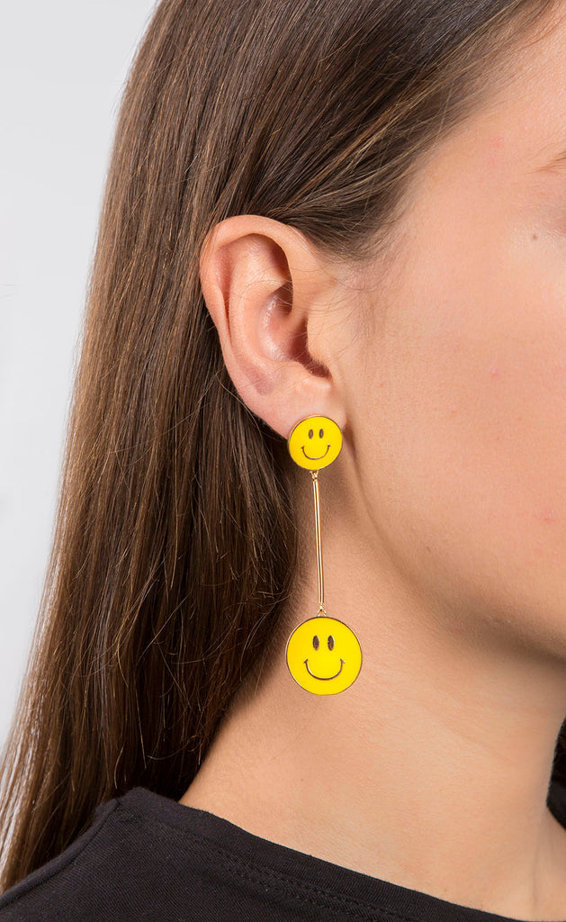 Don't Worry Be Happy Smiley Face Bar Drop Earrings