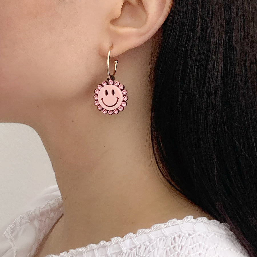 Smiley Face Hoop Earrings - Pink