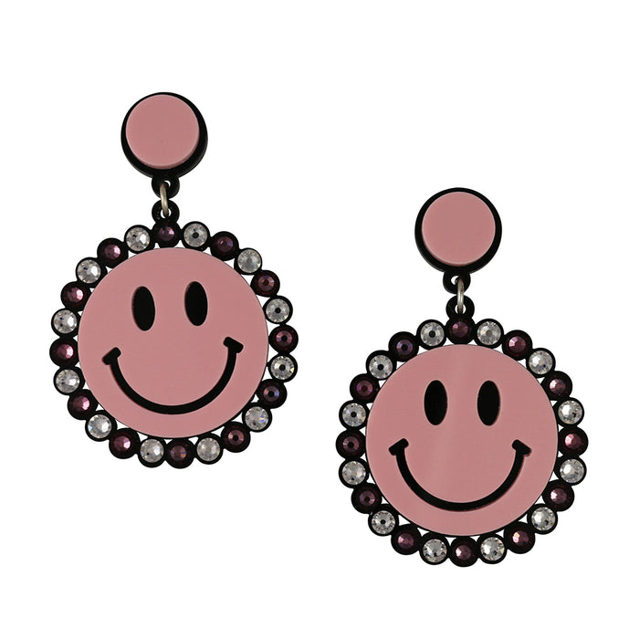 Large Smiley Earrings in pink