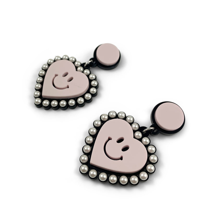 Jennifer Loiselle Pearl Smiley Face Heart Drop Laser Cut Acrylic Earrings