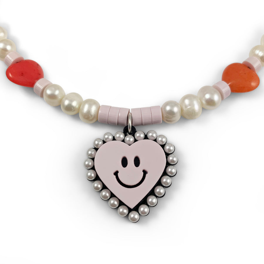 Jennifer Loiselle bead pearl Smiley Face Heart Necklace