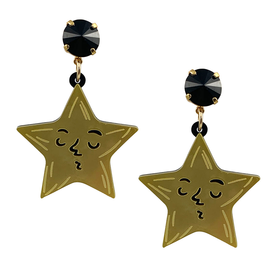 Jennifer Loiselle gold laser cut acrylic Star Drop Earrings