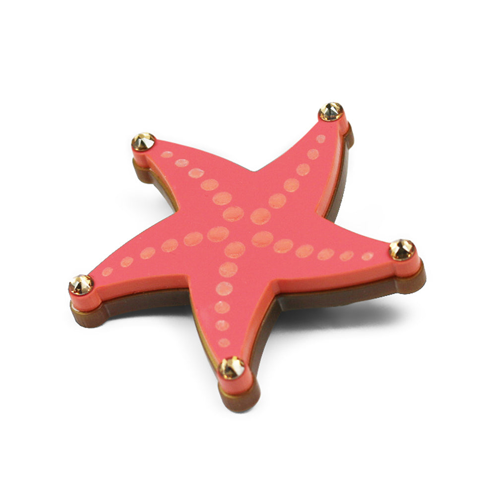 Reach for the Starfish Brooch in Coral