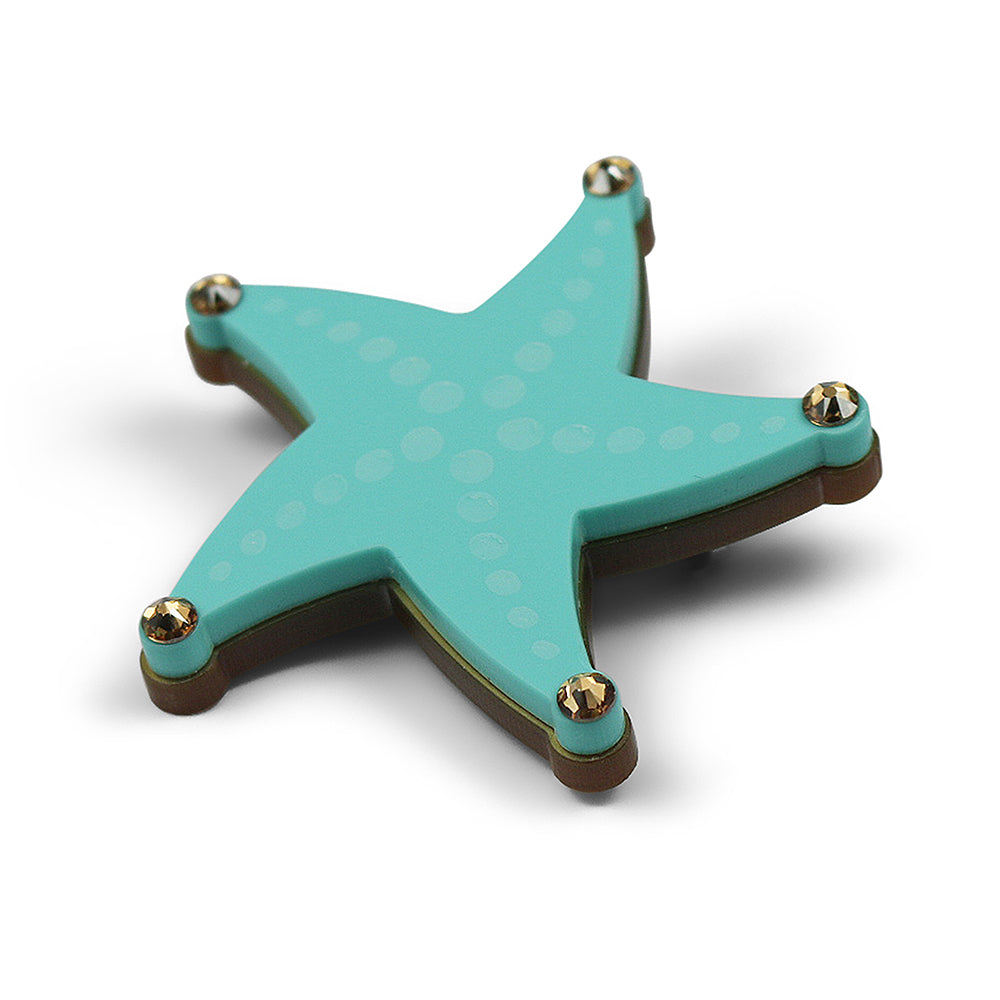 Reach for the Starfish Brooch in Aqua