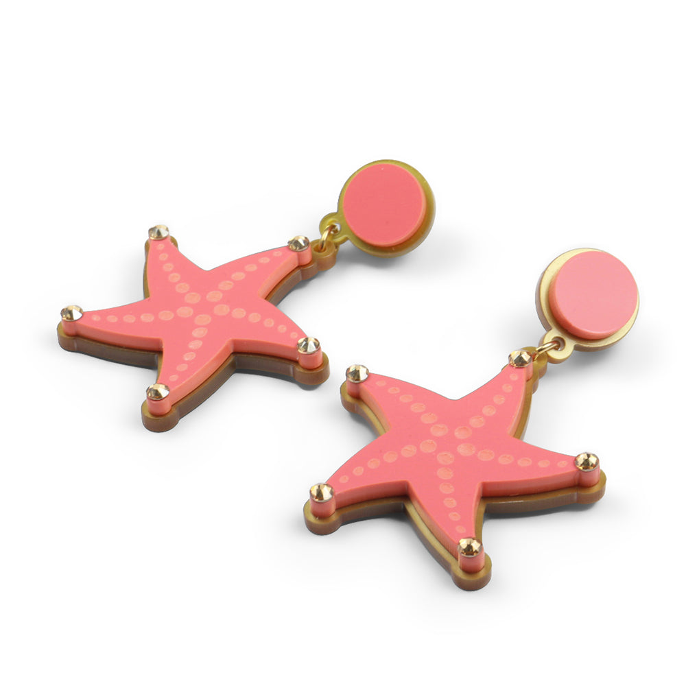 Reach for the Starfish Earrings in Coral