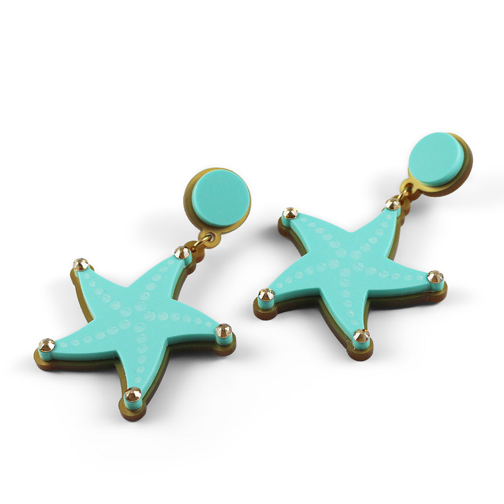 Reach for the Starfish Earrings in Aqua