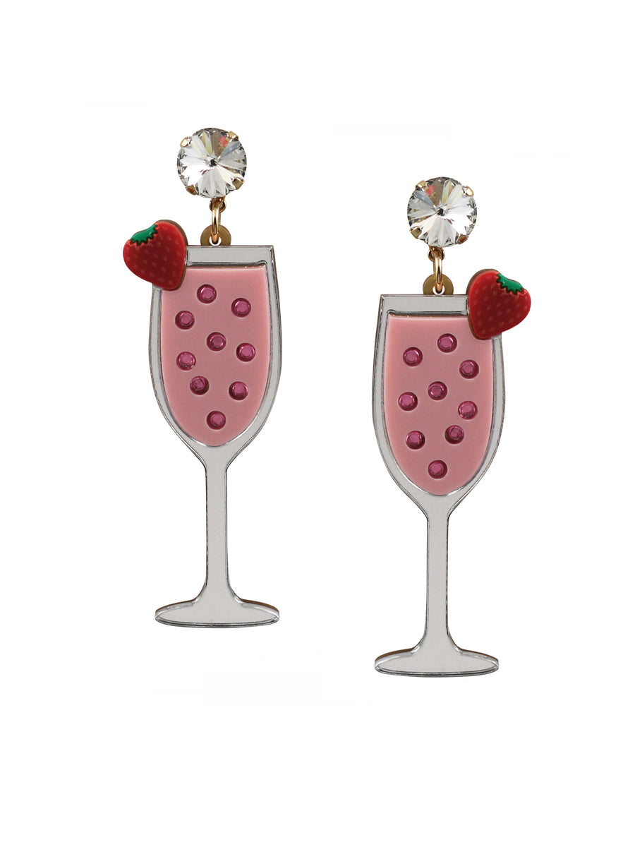 Strawberry Mimosa Cocktail Earrings