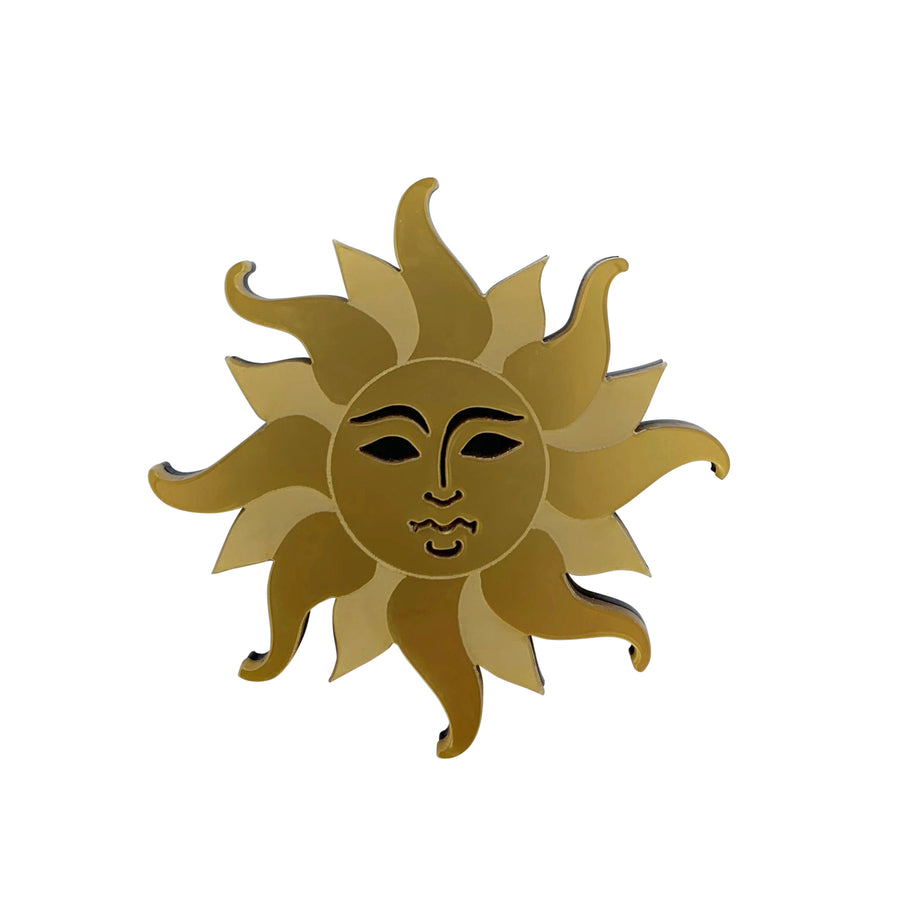 Jennifer Loiselle laser cut acrylic Eternal Sun Brooch