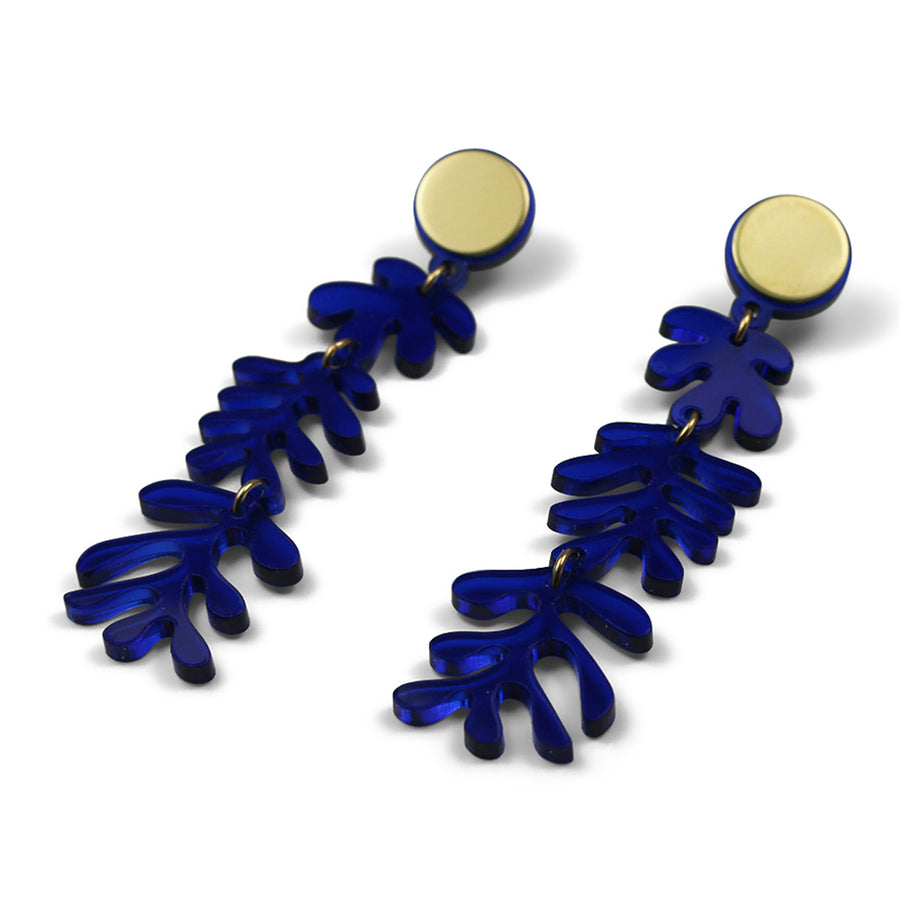 Tendril Earrings in Marine Blue