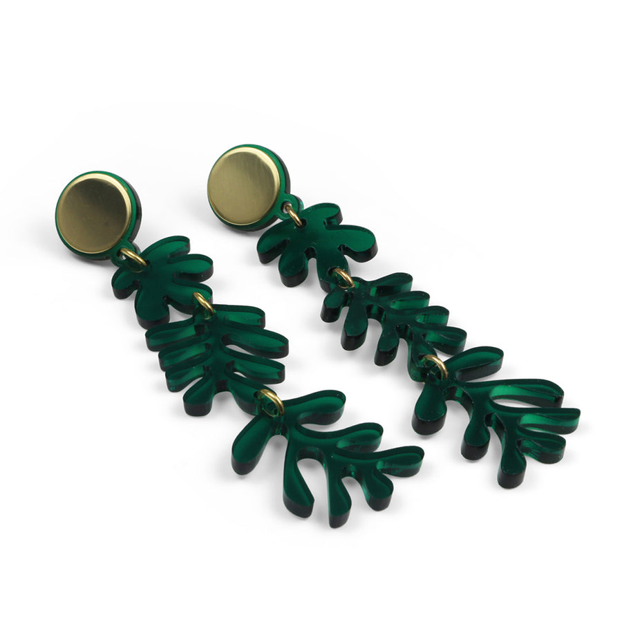 Tendril Earrings in Green