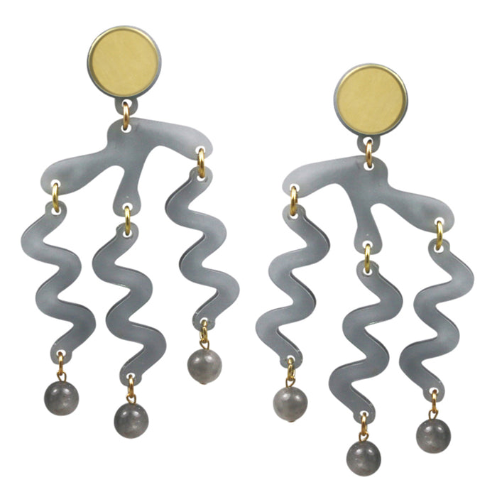 Tentacle Earrings in Smoked Grey