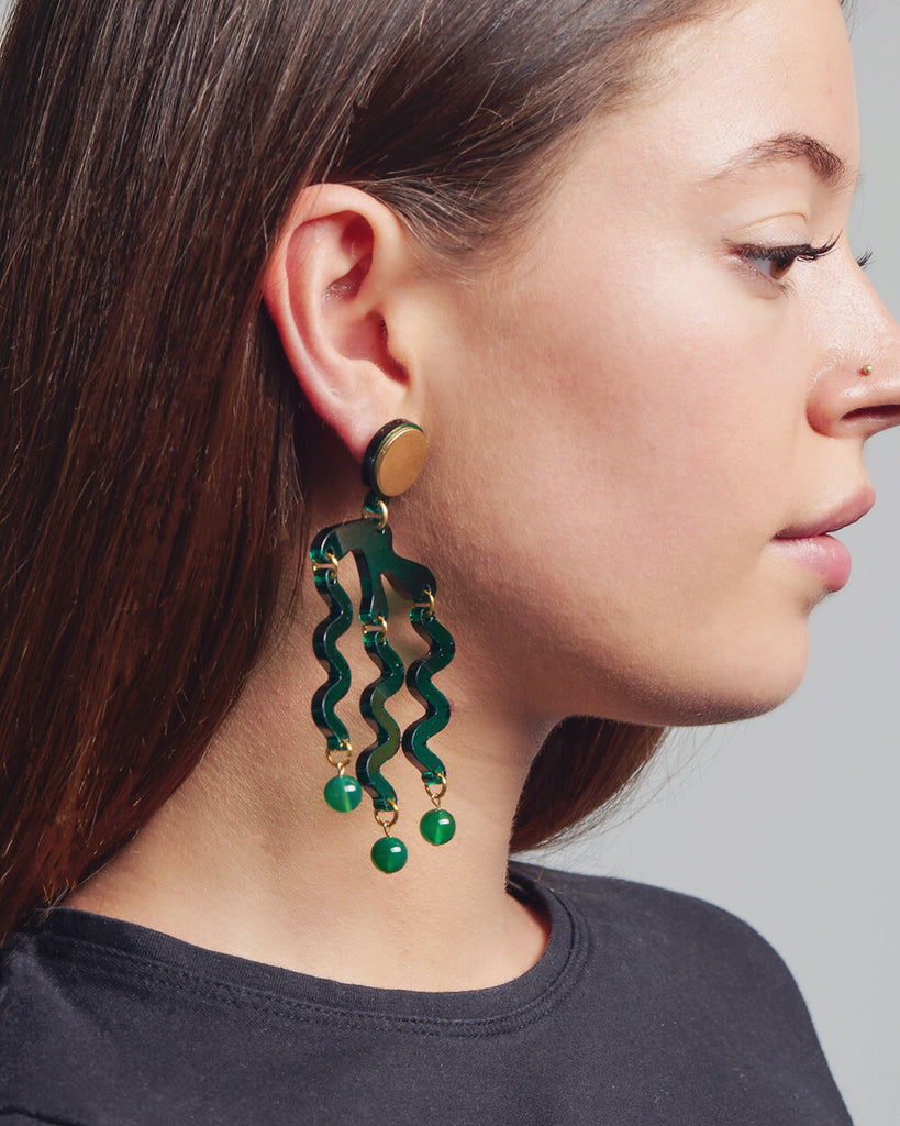 Tentacle Earrings in Green