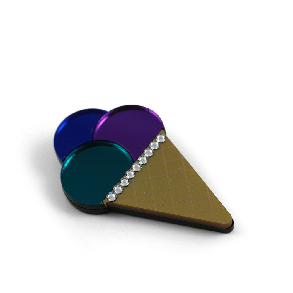 Triple Ice Cream Cone brooch - Purple Blue Teal