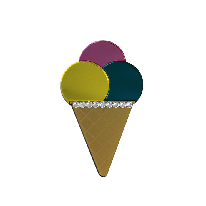 Triple Ice Cream Cone brooch - Pink Yellow Teal
