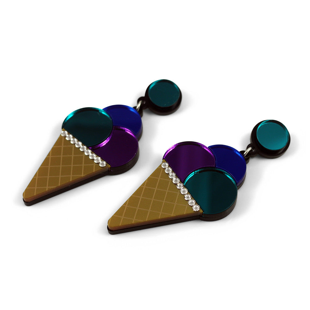Triple Ice Cream Cone Earrings - Purple Blue Teal