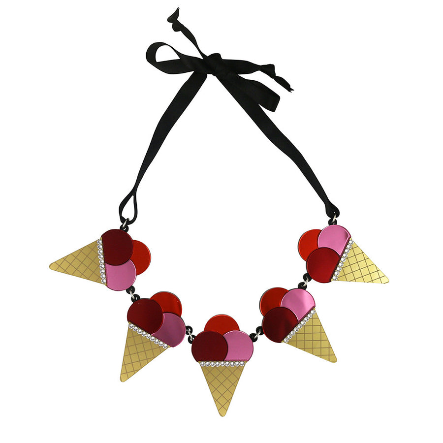 Triple Ice Cream Cone necklace - Pink Red Orange