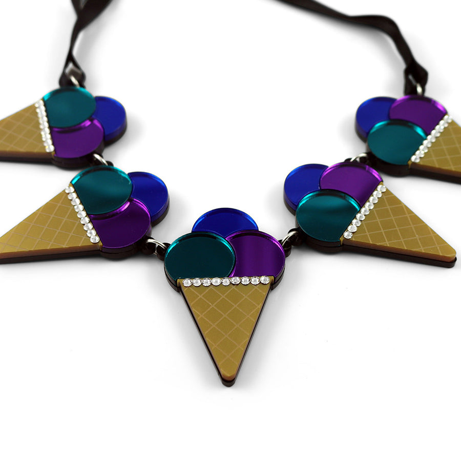 Triple Ice Cream Cone Necklace - Purple Blue Teal