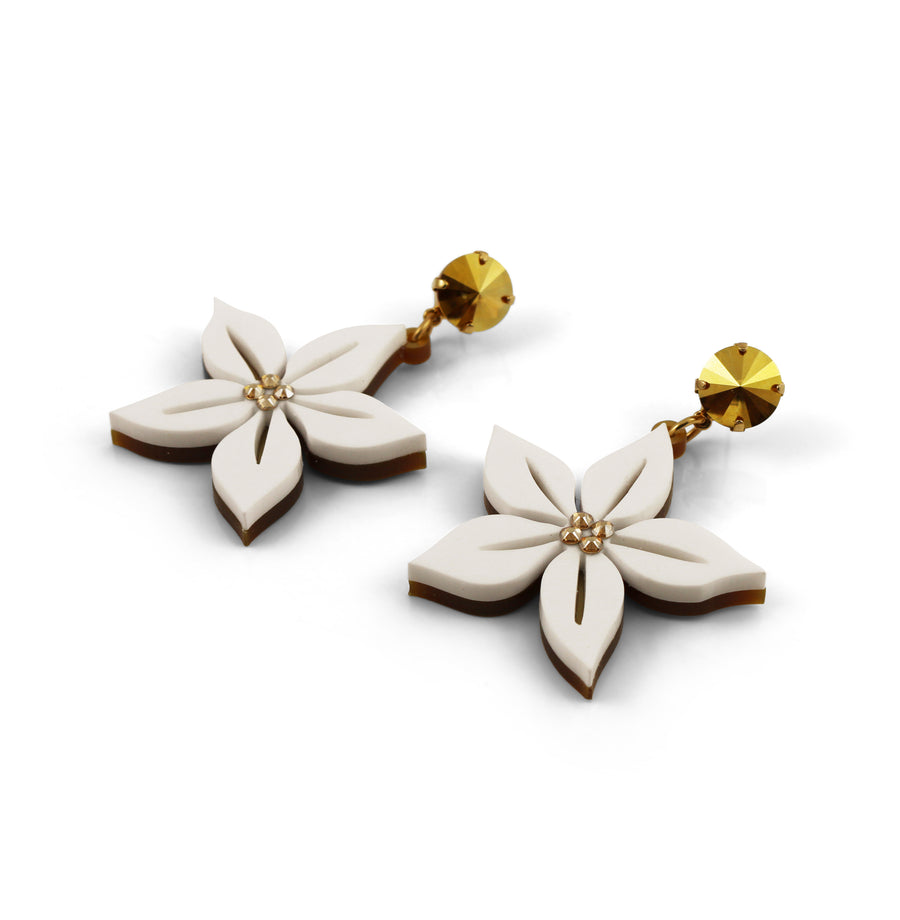 Jennifer Loiselle laser cut acrylic tropical flower earrings