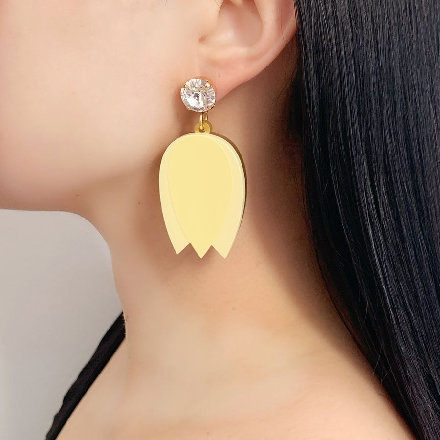 Tulip Drop Earrings in Yellow
