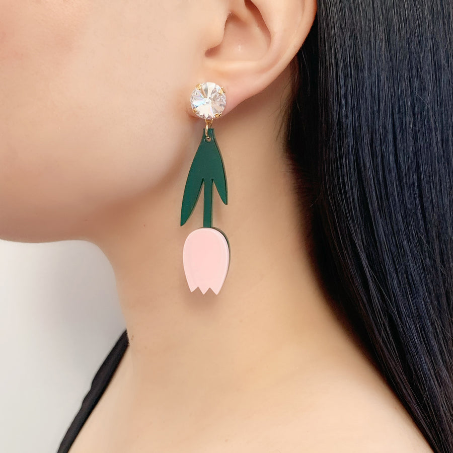 Jennifer Loiselle laser cut acrylic tulip flower earrings
