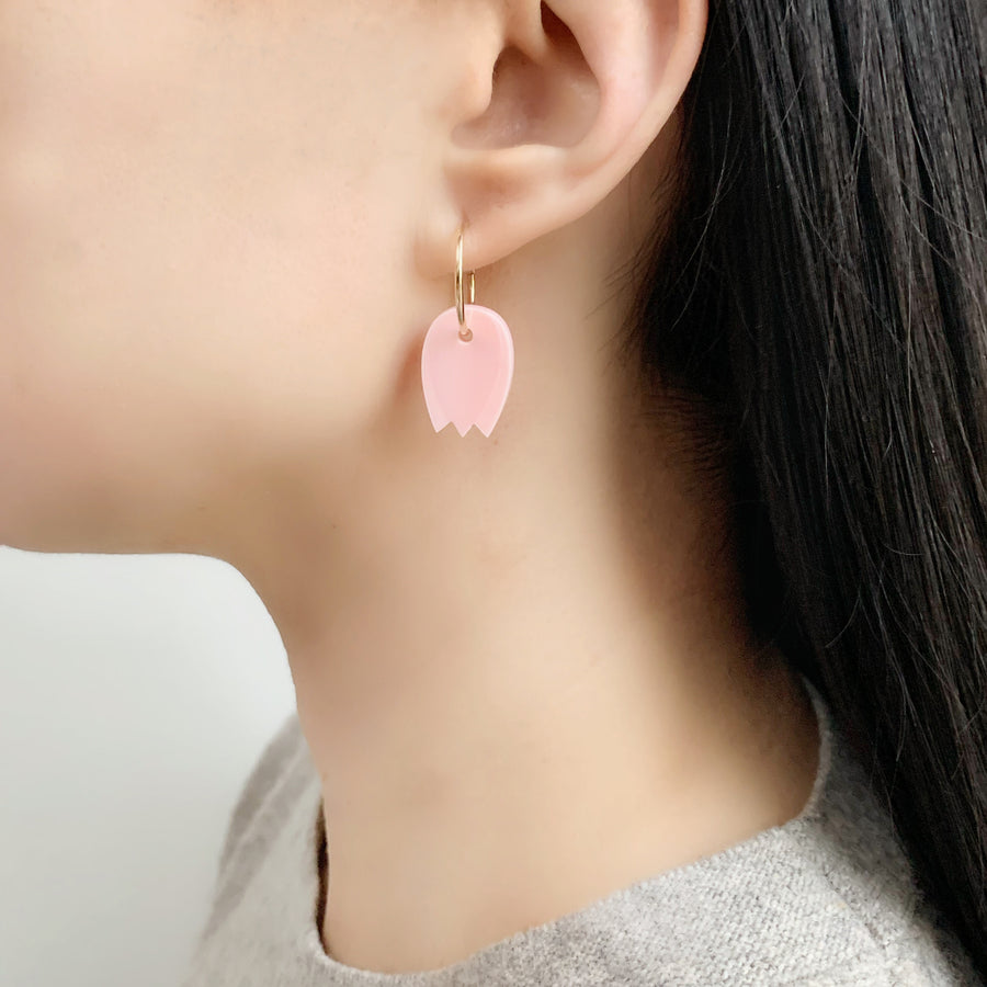 Tulip Hoop Earrings in Pink