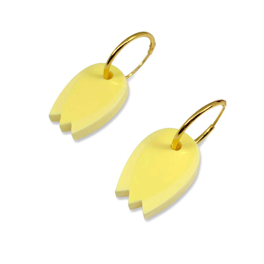 Jennifer Loiselle laser cut acrylic tulip flower hoop earrings