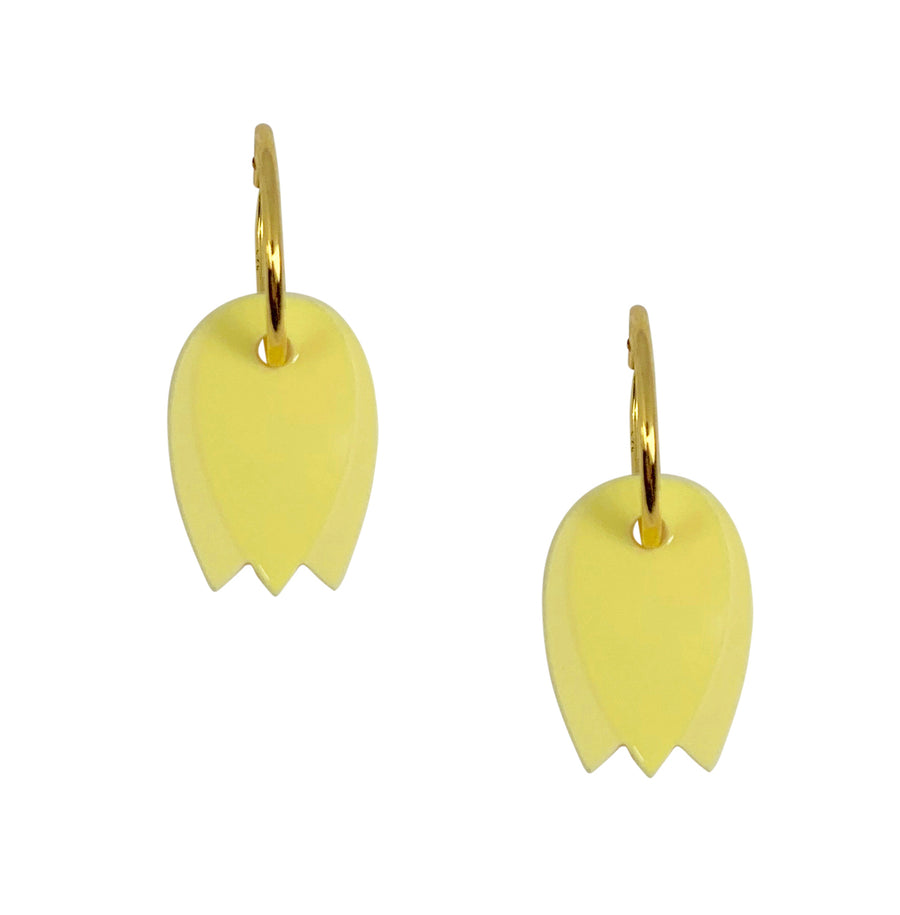 Tulip Hoop Earrings in Yellow