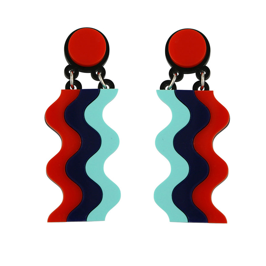 Waterfall earrings - Red Navy Aqua