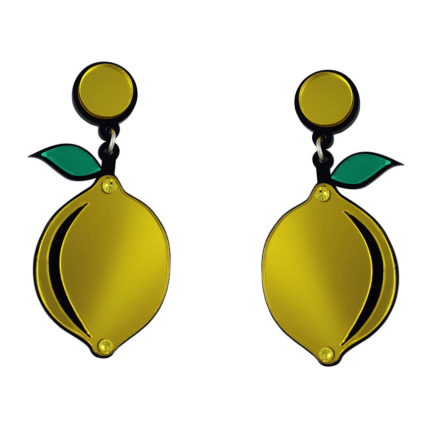 Jennifer Loiselle laser cut acrylic Lemon Fruit earrings