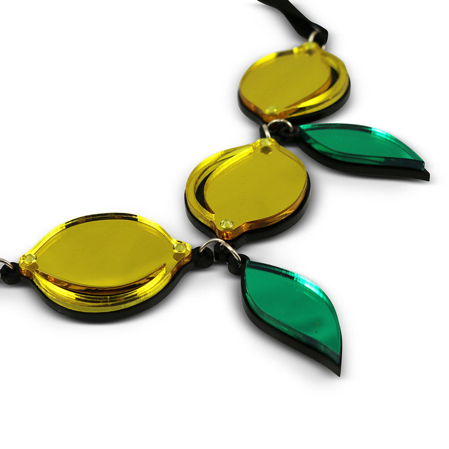 Jennifer Loiselle laser cut acrylic Lemon Fruit necklace