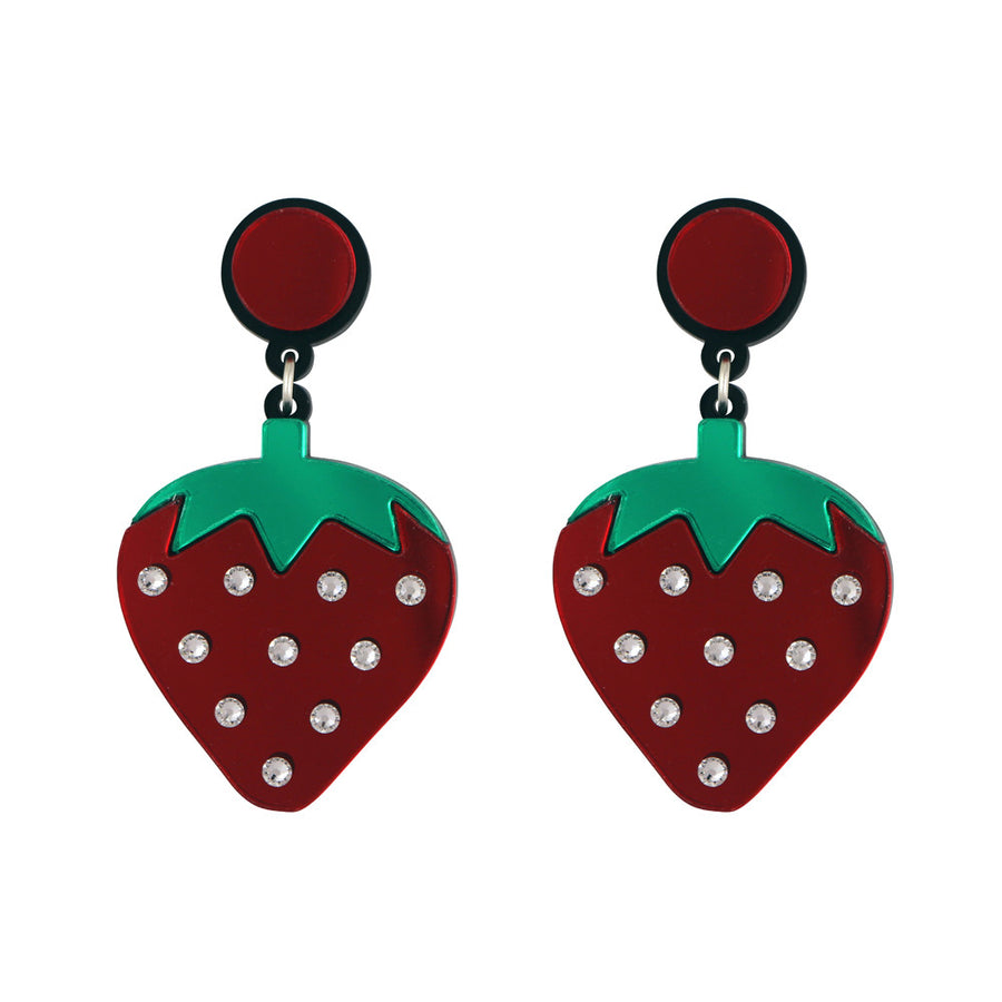 Jennifer Loiselle laser cut acrylic Wild Strawberry fruit earrings