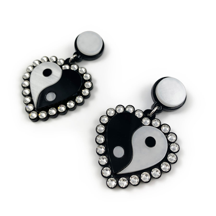 Jennifer Loiselle Yin Yang Heart Drop Laser Cut Acrylic 90s Earrings