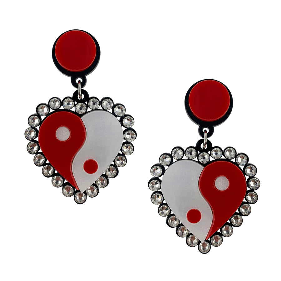 Yin Yang Heart Drop Earrings in Red and White