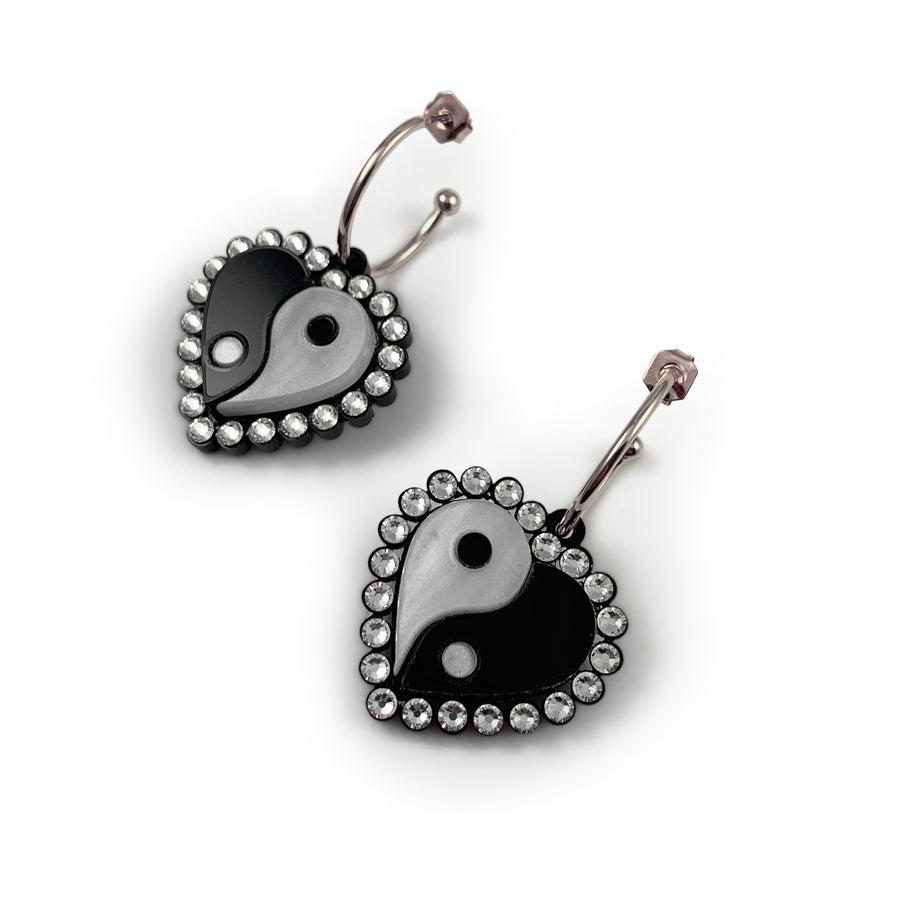 Jennifer Loiselle Yin Yang Heart Hoop laser cut acrylic Earrings i