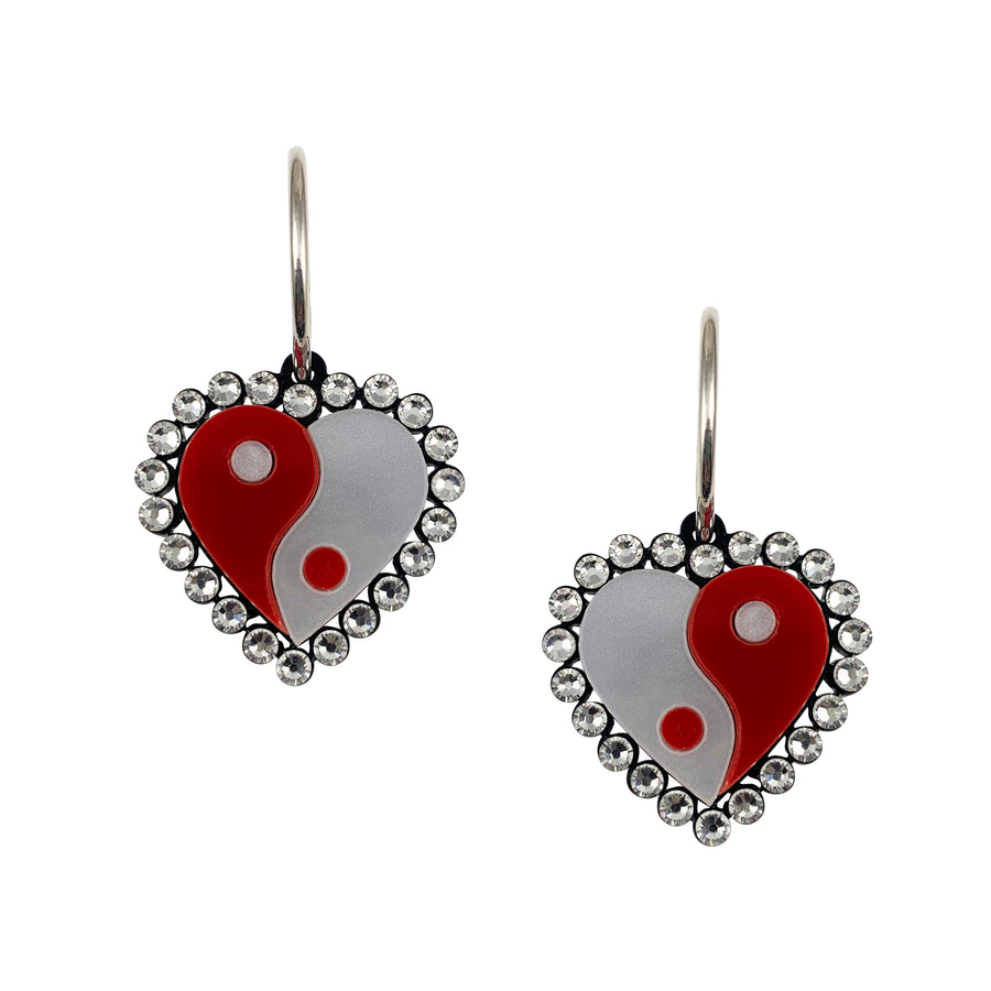 Yin Yang Heart Hoop Earrings in Red and White
