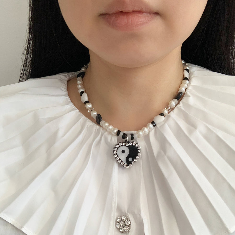 Jennifer Loiselle Yin Yang Heart laser cut acrylic 90s pearl bead necklace
